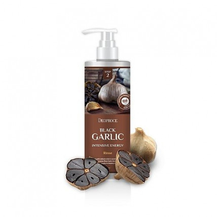 Восстанавливающий бальзам для волос на основе чёрного чеснока Deoproce Rinse Black Garlic Intensive Energy