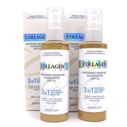 Осветляющий тональный крем с коллагеном Enough Collagen Whitening Moisture Foundation 3 IN 1 SPF 15