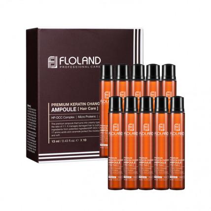 Ампула-филлер для восстановления поврежденных волос Floland Premium Keratin Change Ampoule