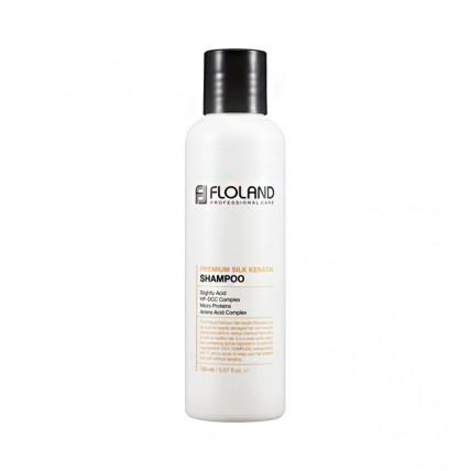 Шампунь для восстановления поврежденных волос Floland Premium Silk Keratin Shampoo 150 мл