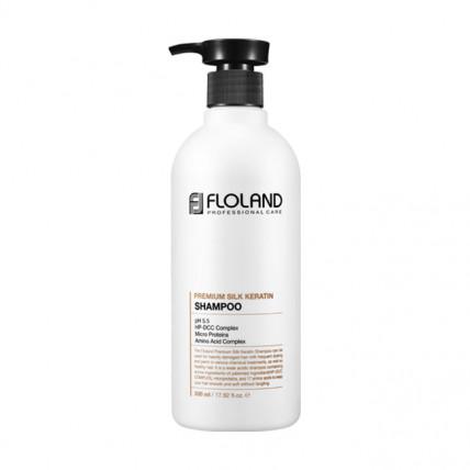 Шампунь для восстановления поврежденных волос Floland Premium Silk Keratin Shampoo