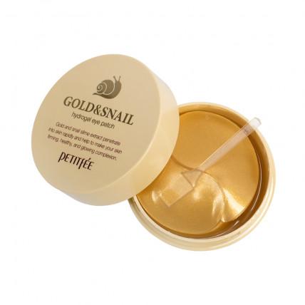 Гидрогелевые патчи для век с муцином улитки и коллоидным золотом Petiitfee  Hydro Gel Eye Patch Gold & Snail